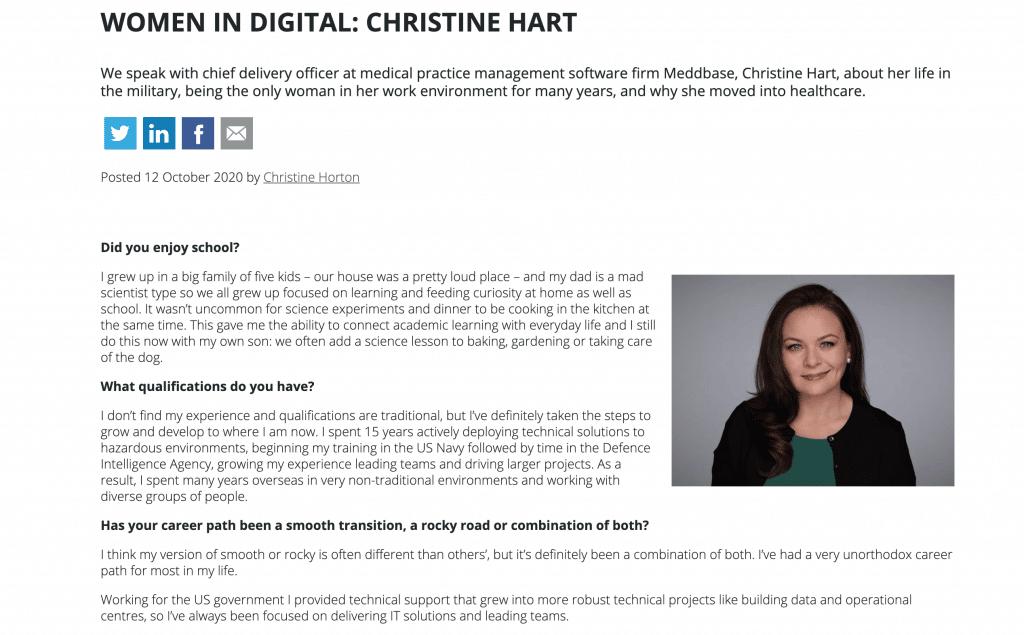 Meddbase CDO Christine Hart Think Digital Article
